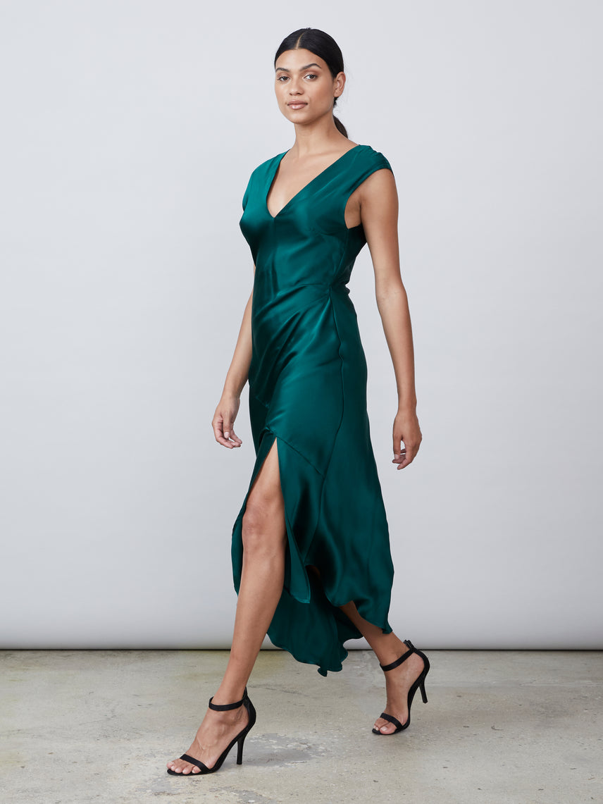 Dark green silk charmeuse draped v neck deep v back slip dress