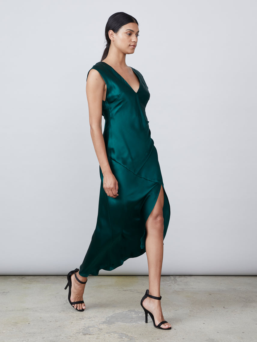 Dark green silk charmeuse draped v neck deep v back slip dress Alternate