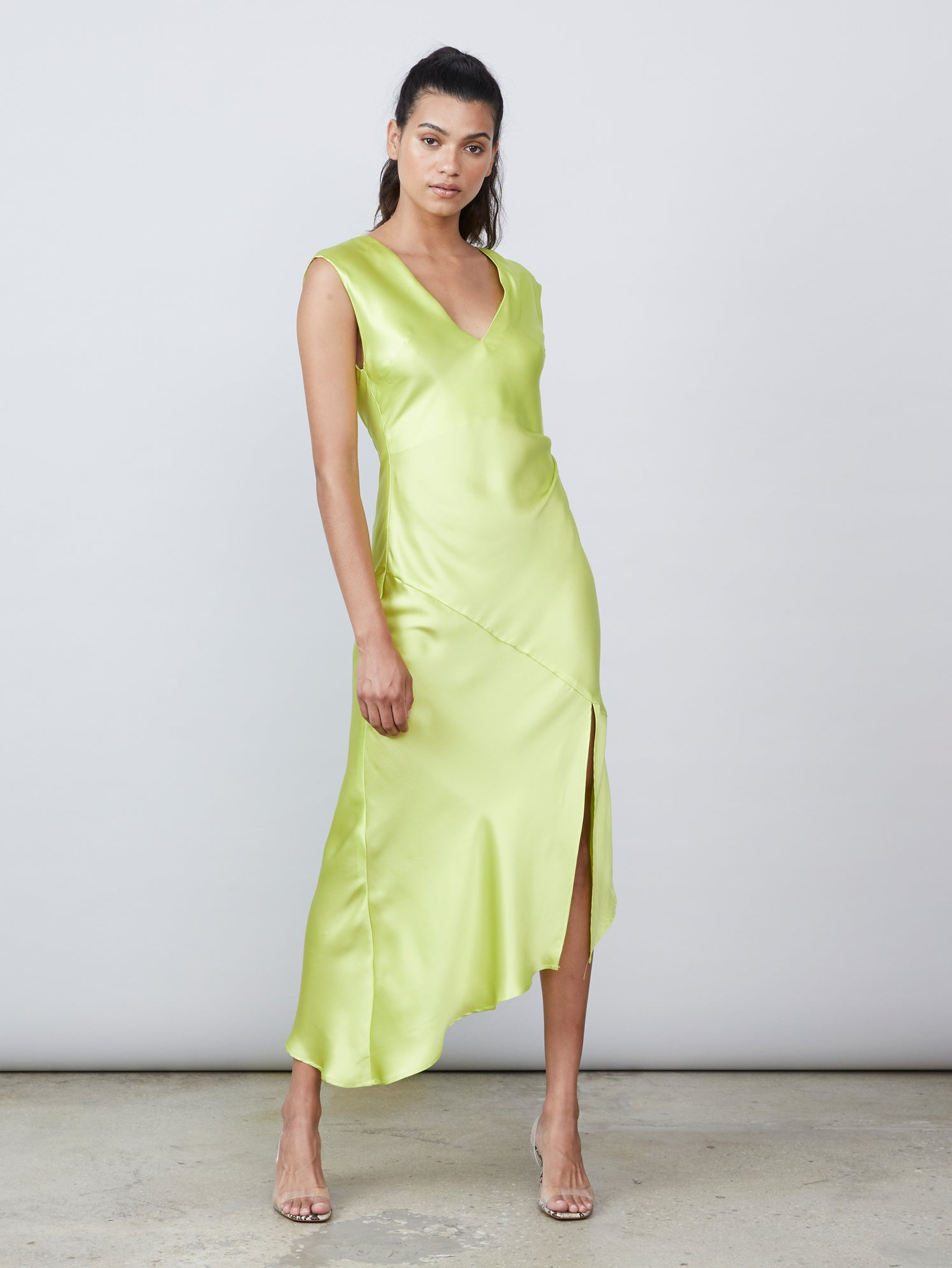 Lime silk charmeuse deep v back neck tie draped slip dress