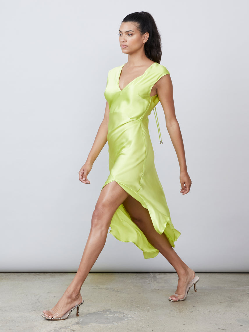 Lime silk charmeuse deep v back neck tie draped slip dress Alternate