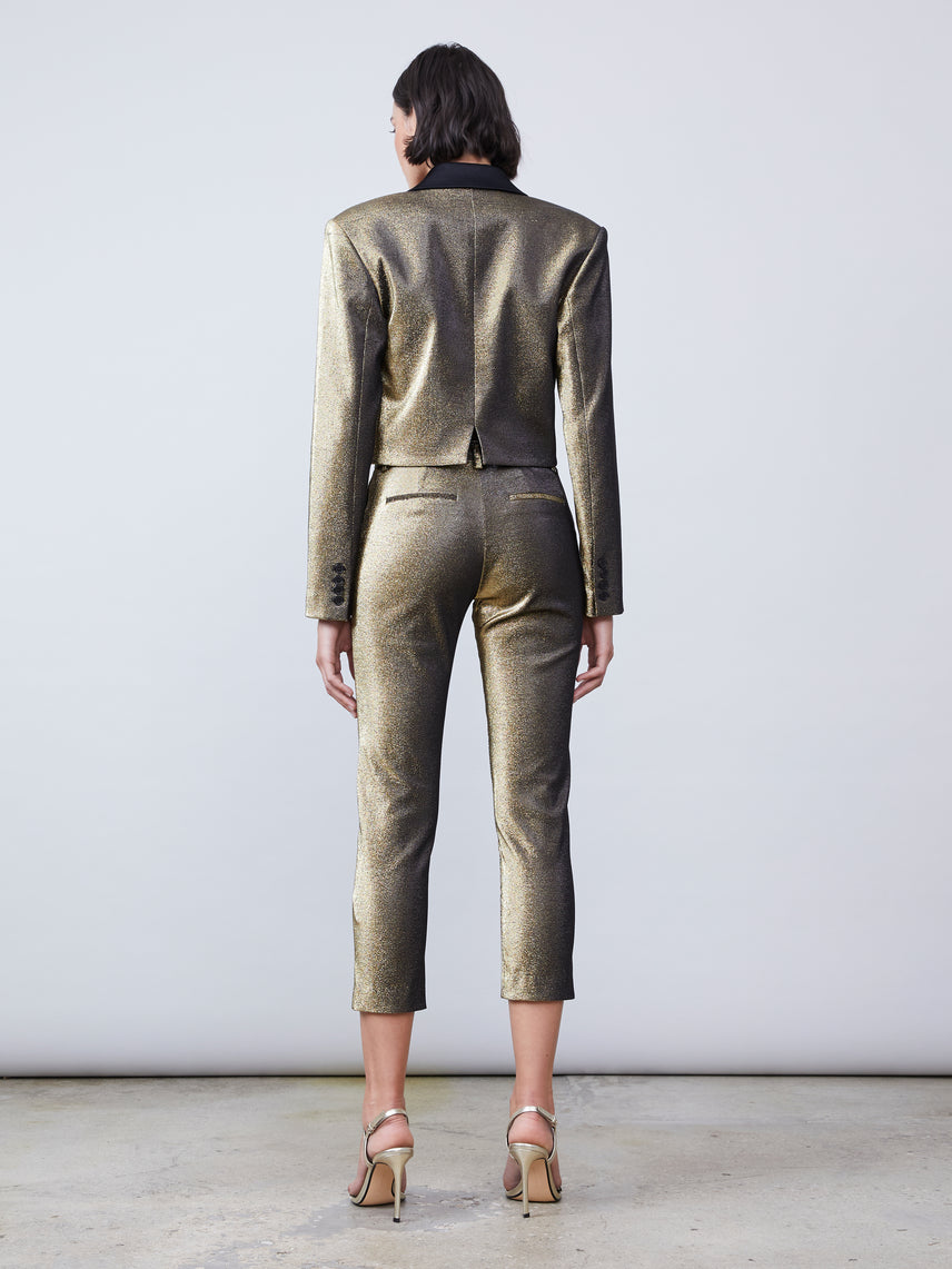 Metallic stretch twill hi-rise cropped pants with front slit Alternate