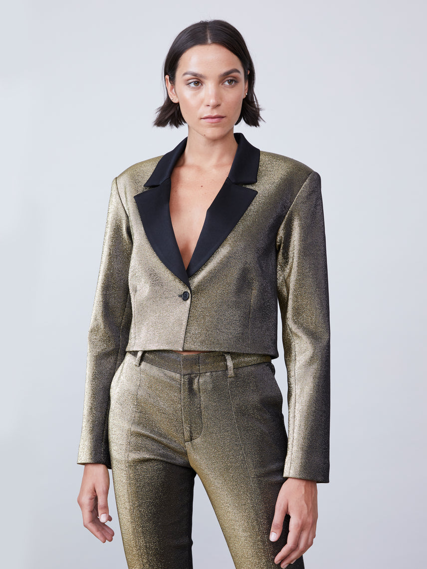 Metallic twill blazer with black satin lapel