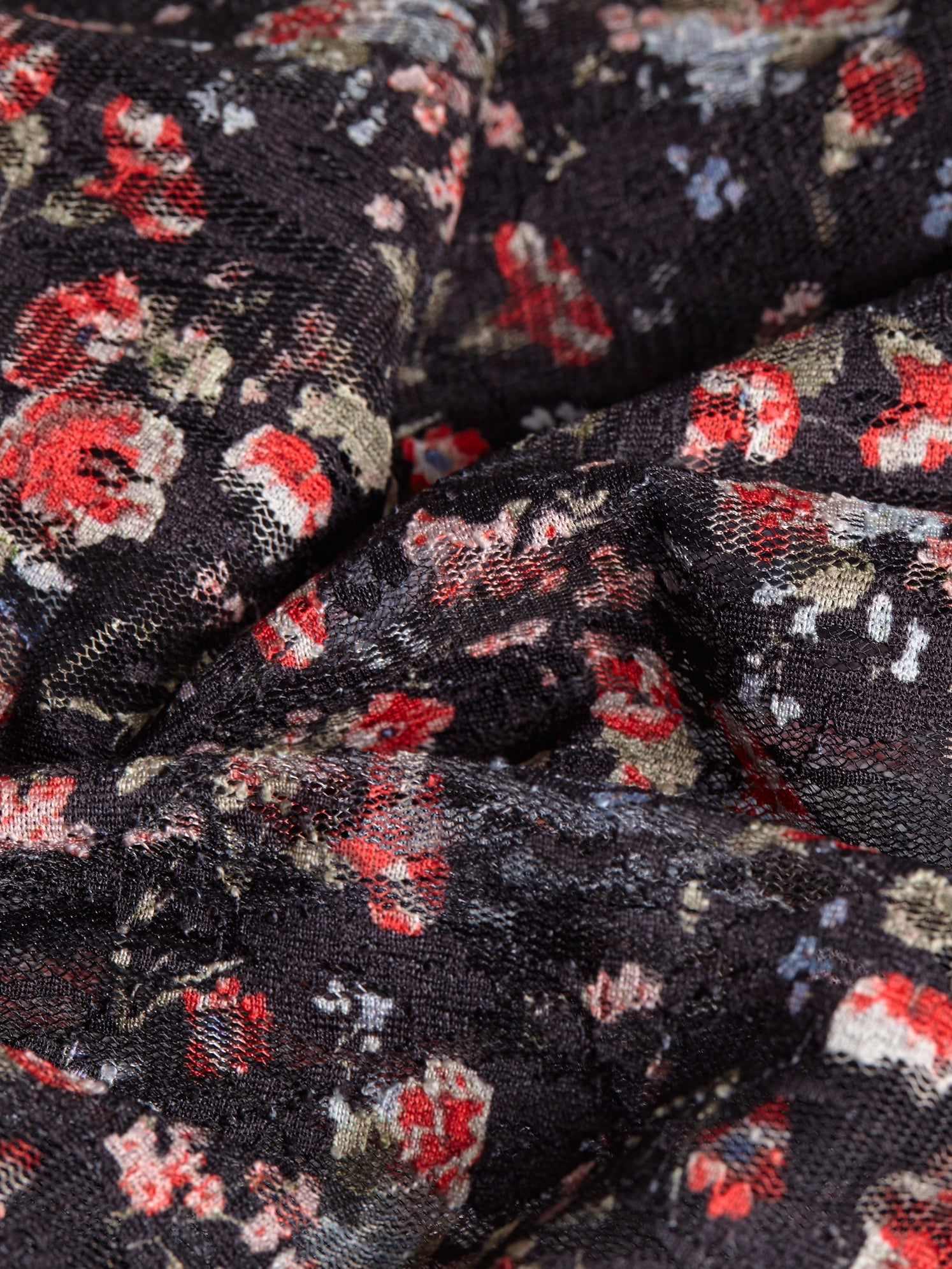 Ditsy red printed floral lace fabric