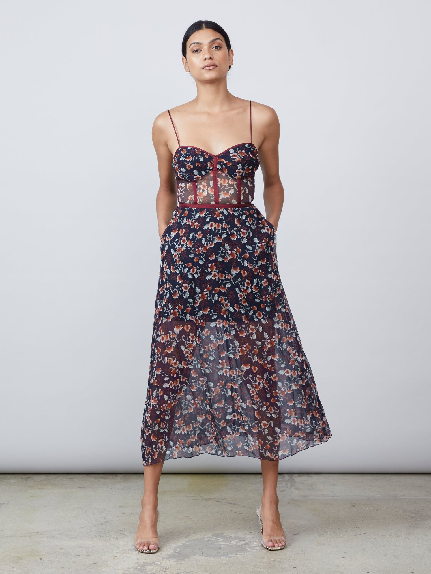 Printed floral crinkle chiffon bustier dress with side pockets