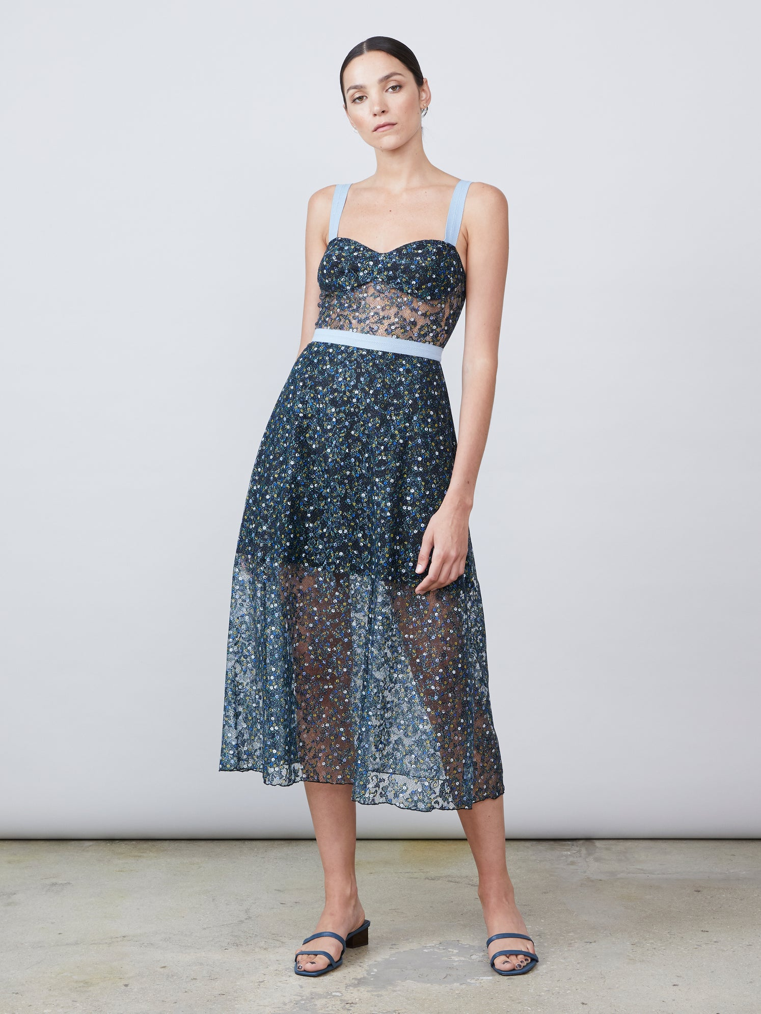 Ditsy print lace midi bustier dress with side pockets