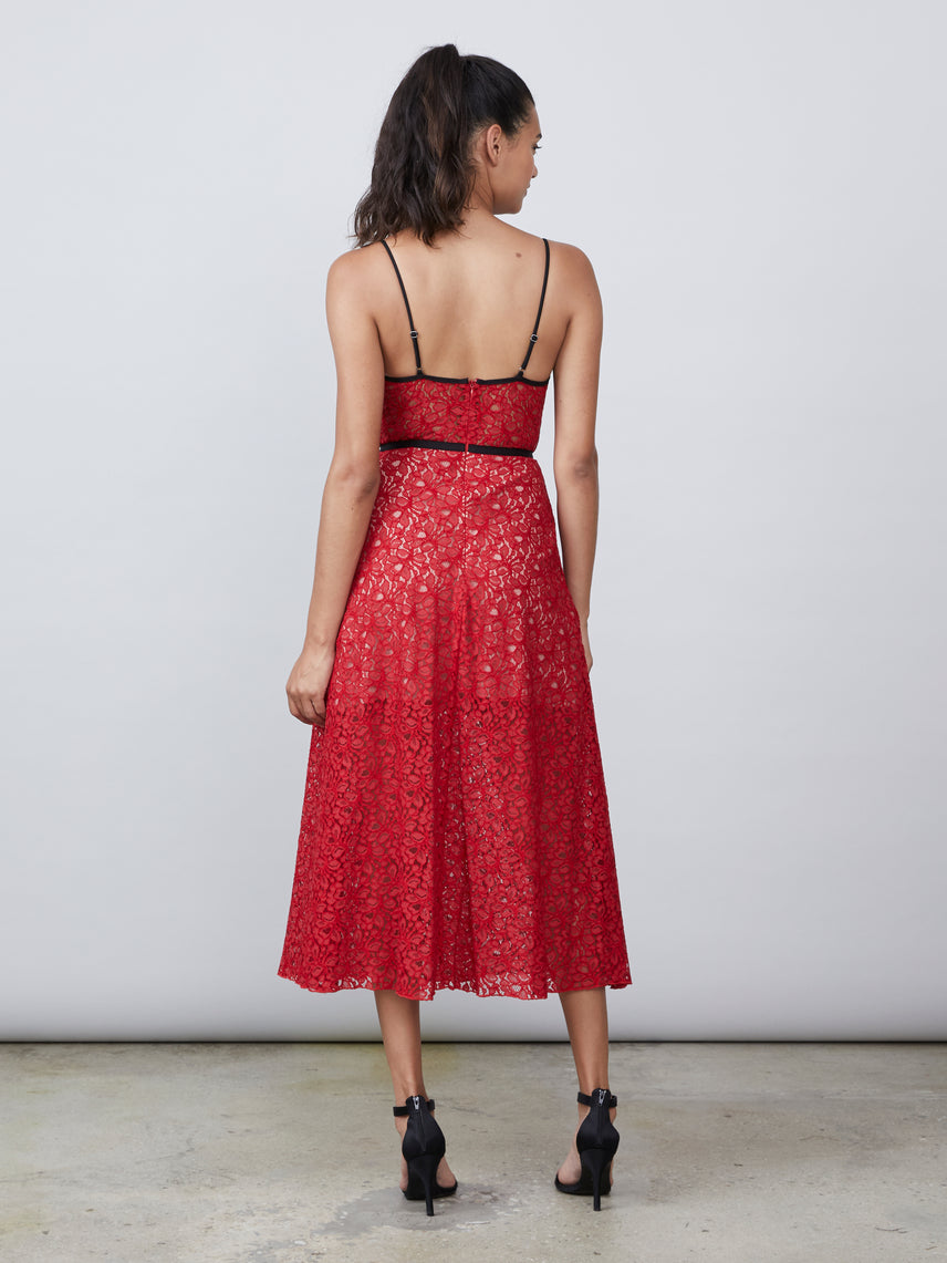 Cherry floral lace semi-sheer bustier dress with side pockets