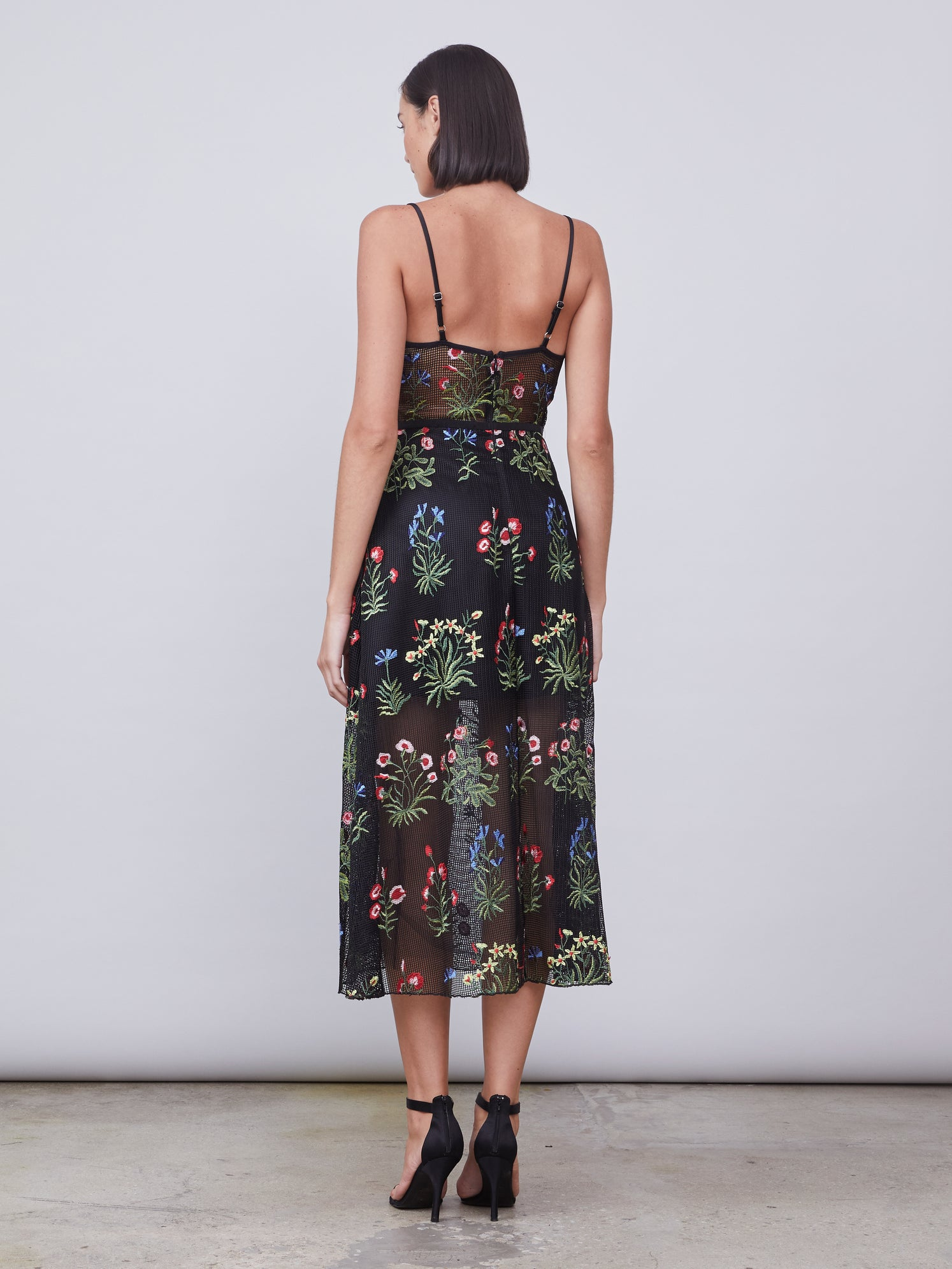 Embroidered floral mesh bustier dress with side pockets Alternate