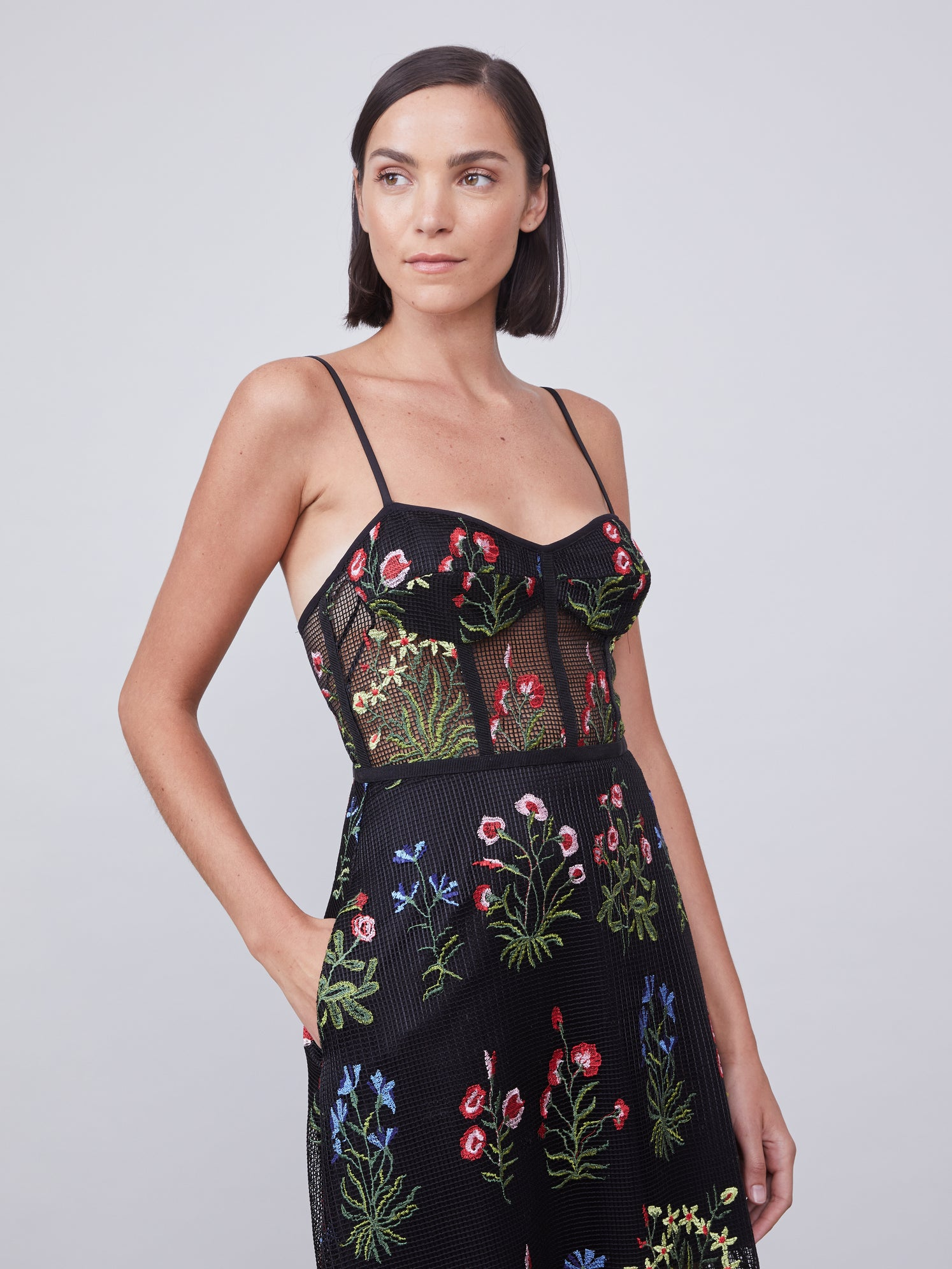 Embroidered floral mesh bustier dress with side pockets