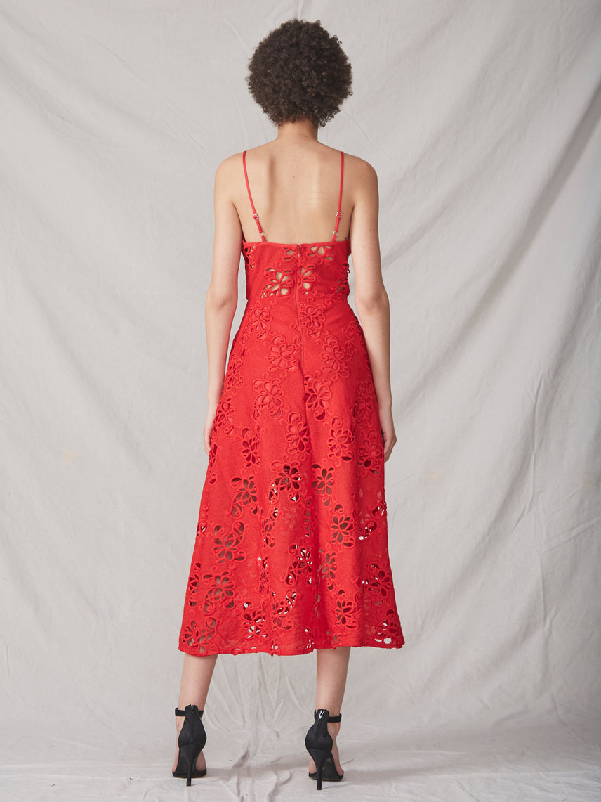 Red embroidered lace midi bustier dress with semi-sheer bodice and side pockets Alternate