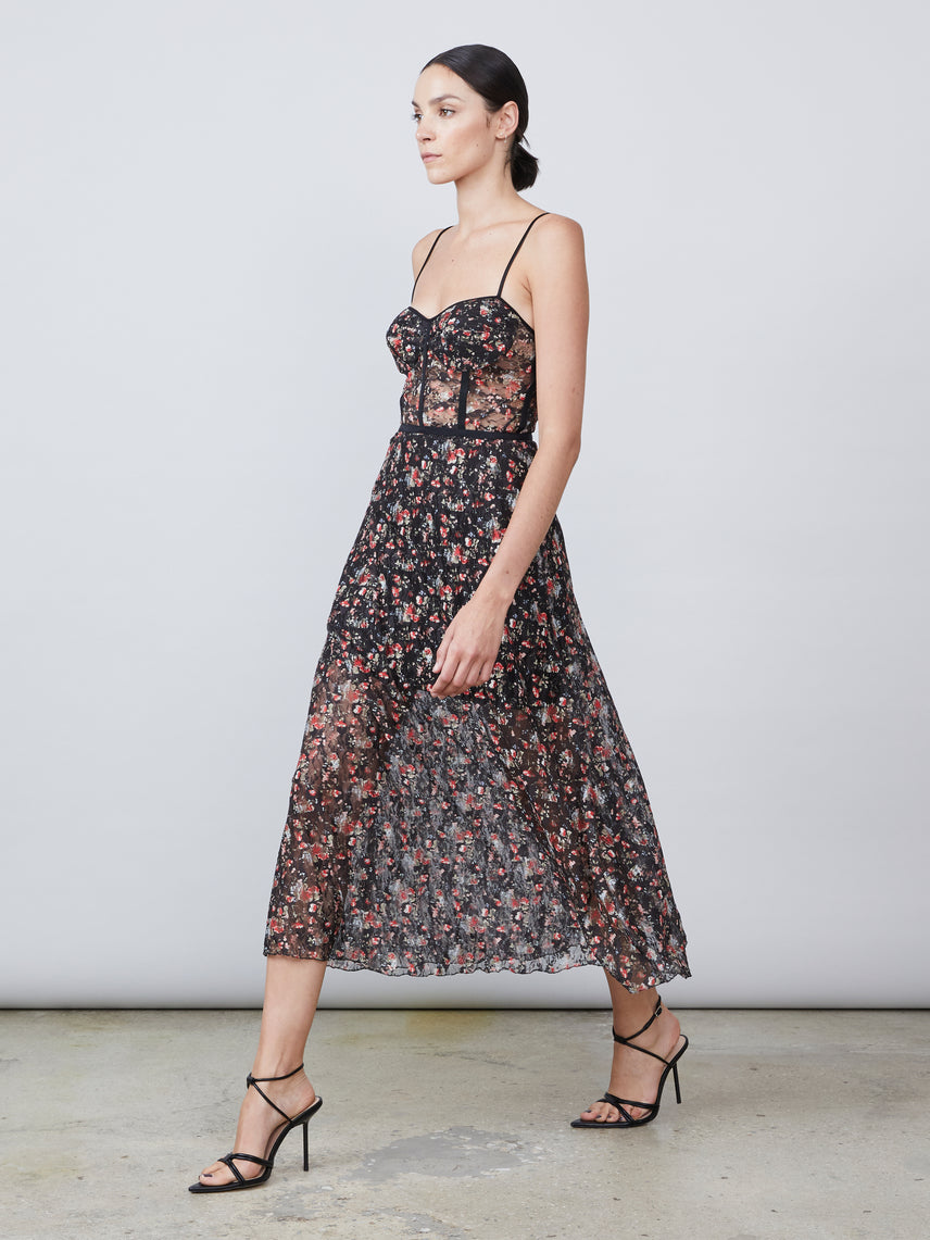 Floral printed lace midi dress with bustier and side pockets Alternate