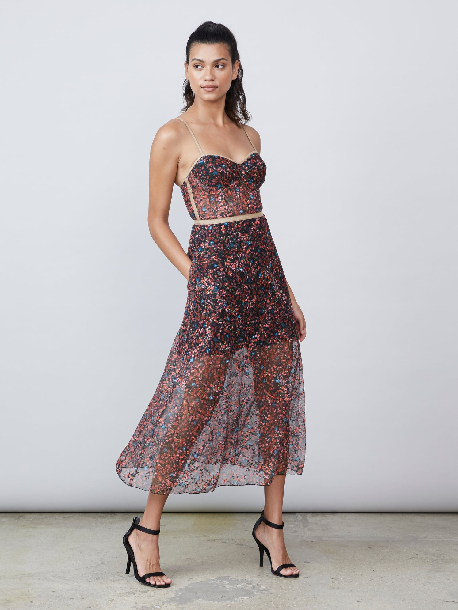 Printed lace midi bustier dress with side pockets