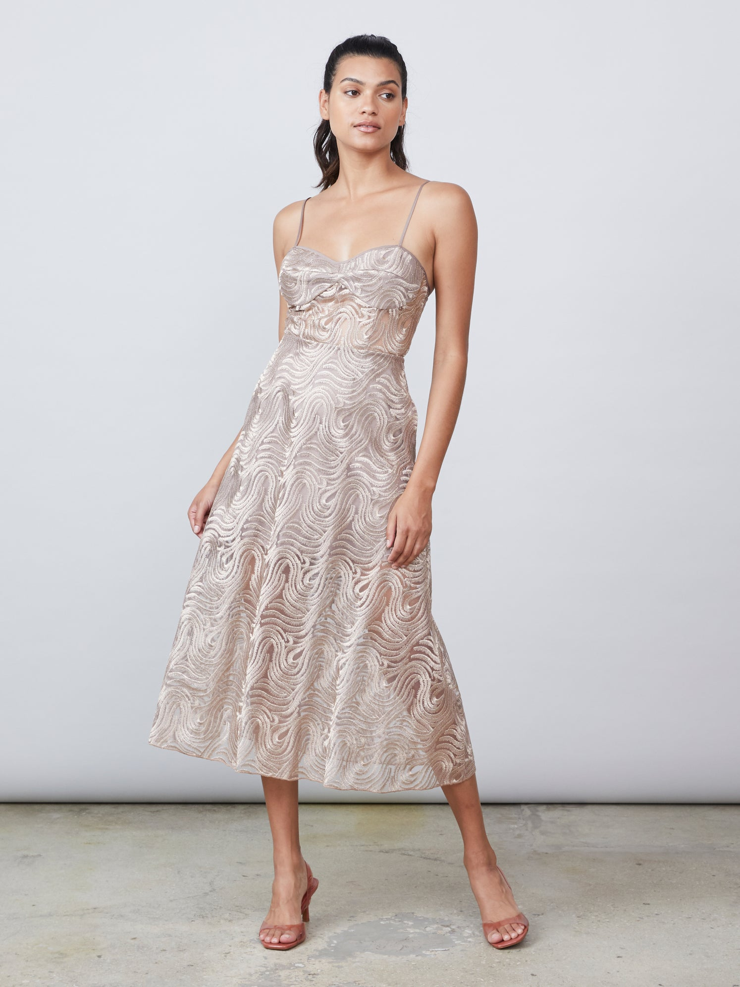 Metallic embroidered jacquard lace bustier dress with semi sheer bodice and side pockets