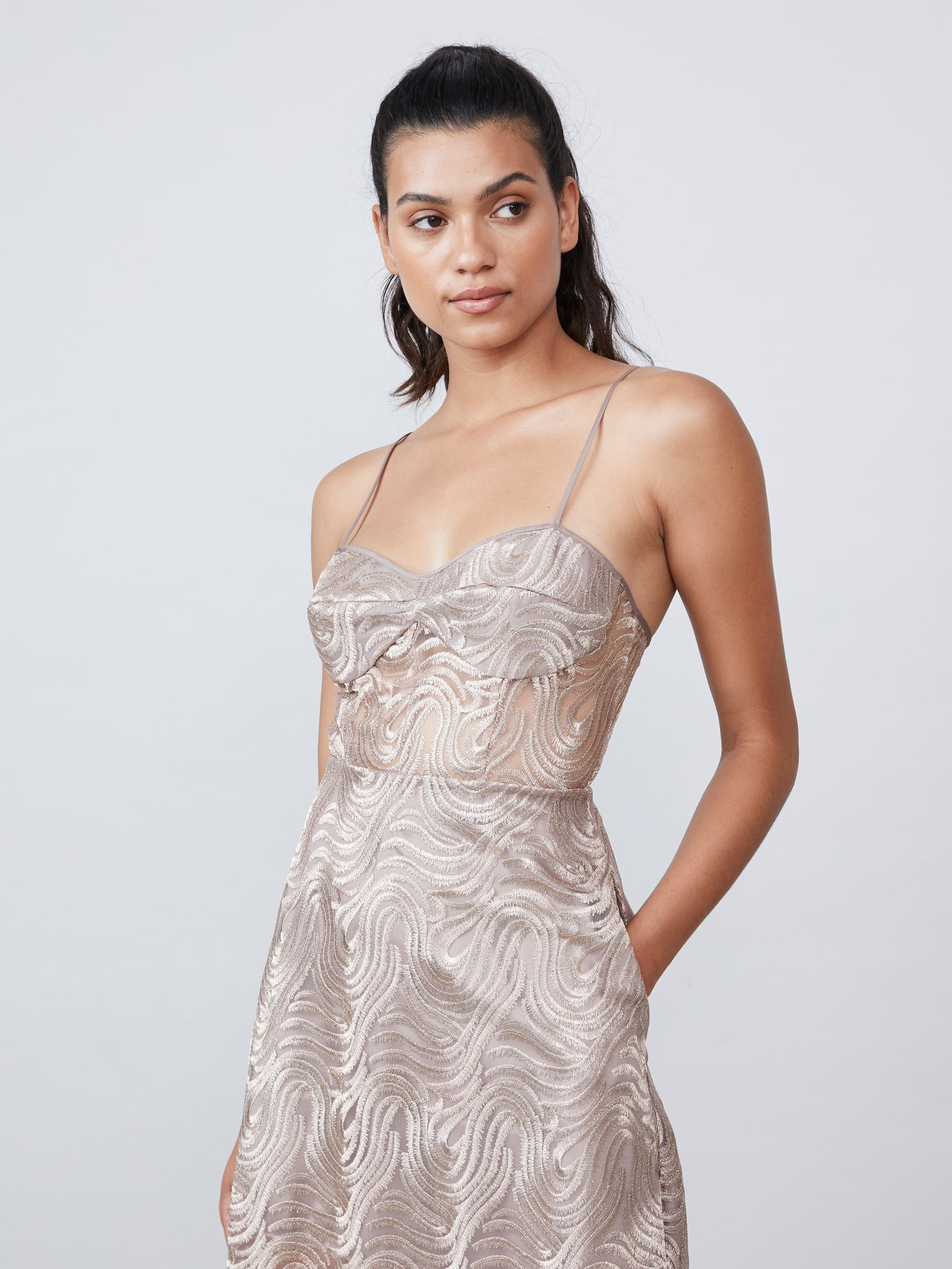 Metallic embroidered jacquard lace bustier dress with semi sheer bodice and side pockets Alternate
