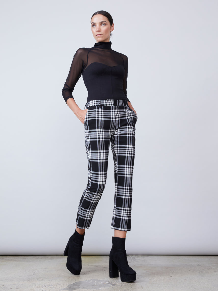 Cropped plaid  pant with split hem