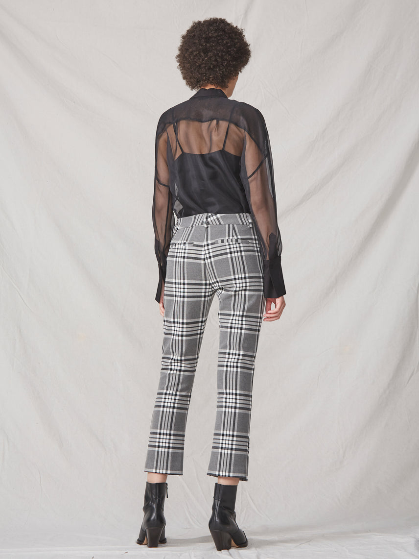 Gray plaid cropped pant with a split hem Alternate