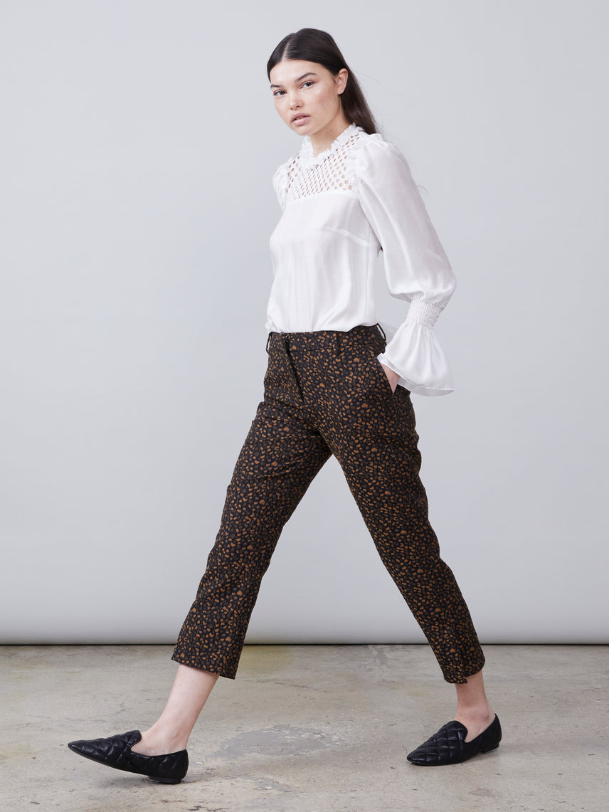 Animal print cropped pant with split hem