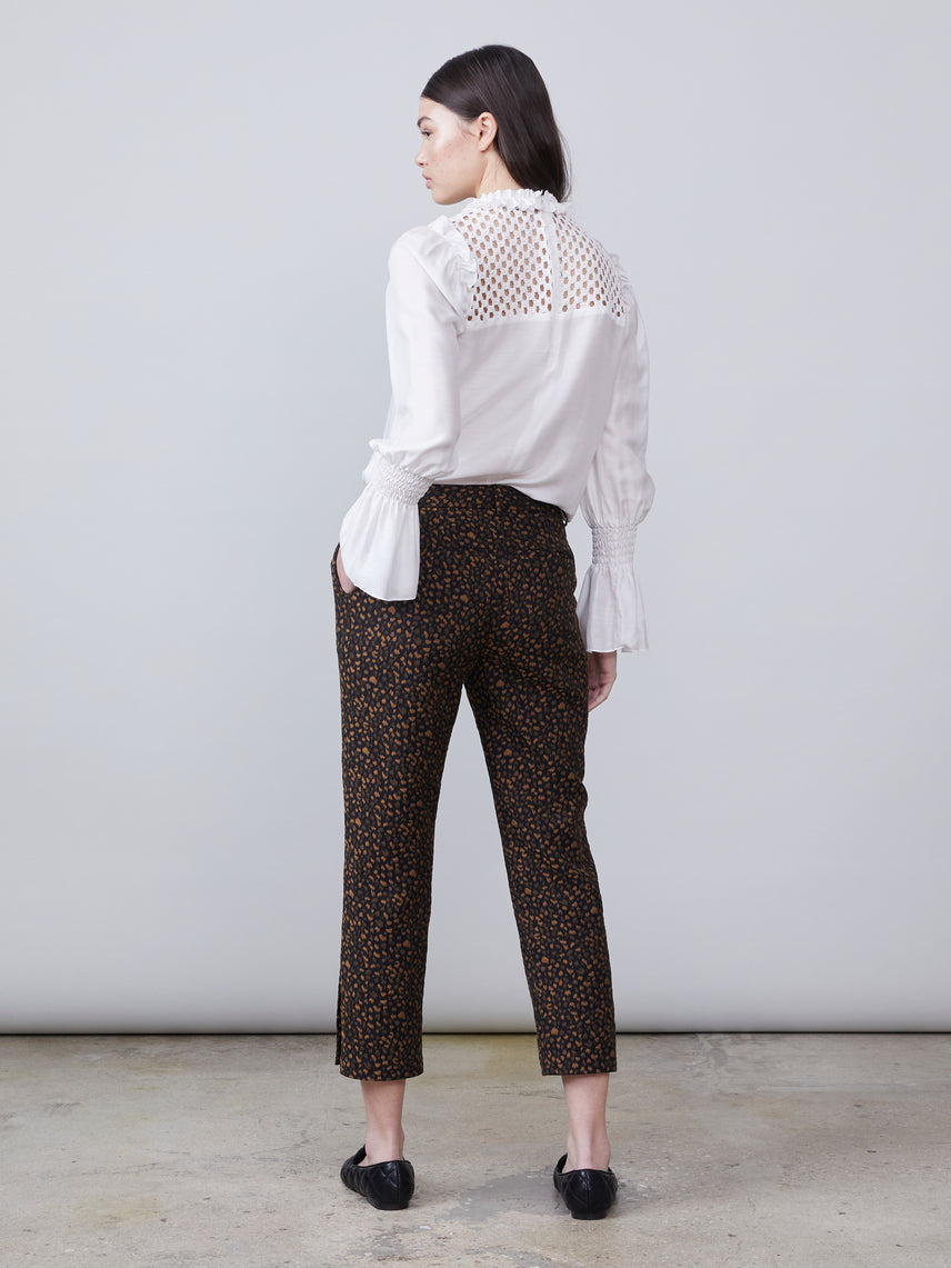 Animal print cropped pant with split hem Alternate