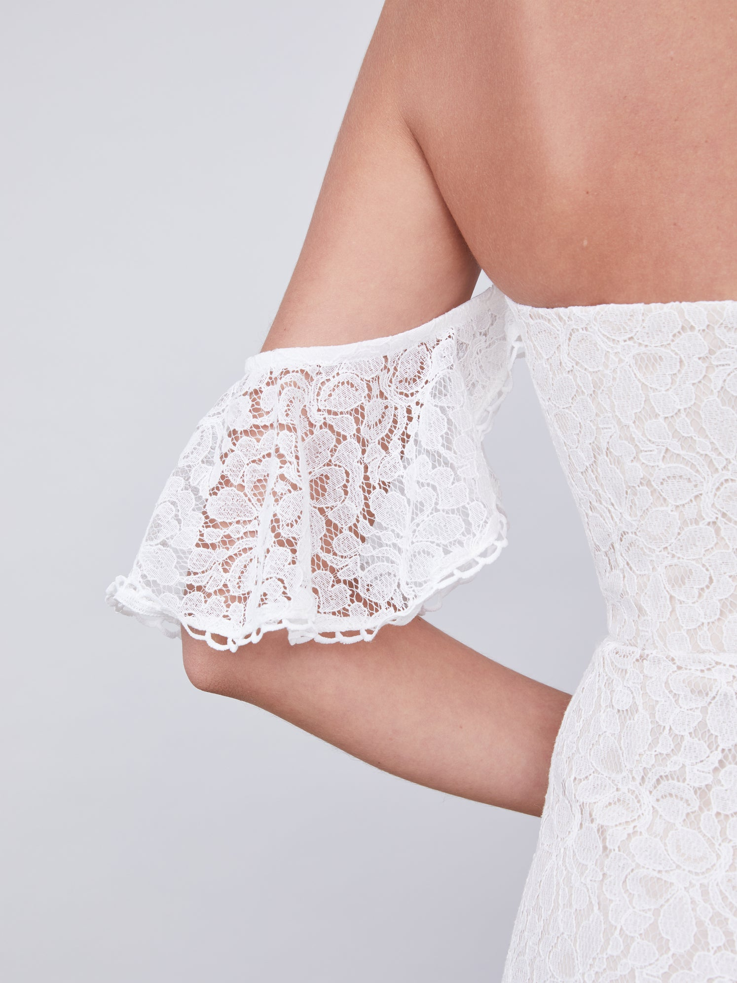 Ruffled off-shoulder lace midi dress