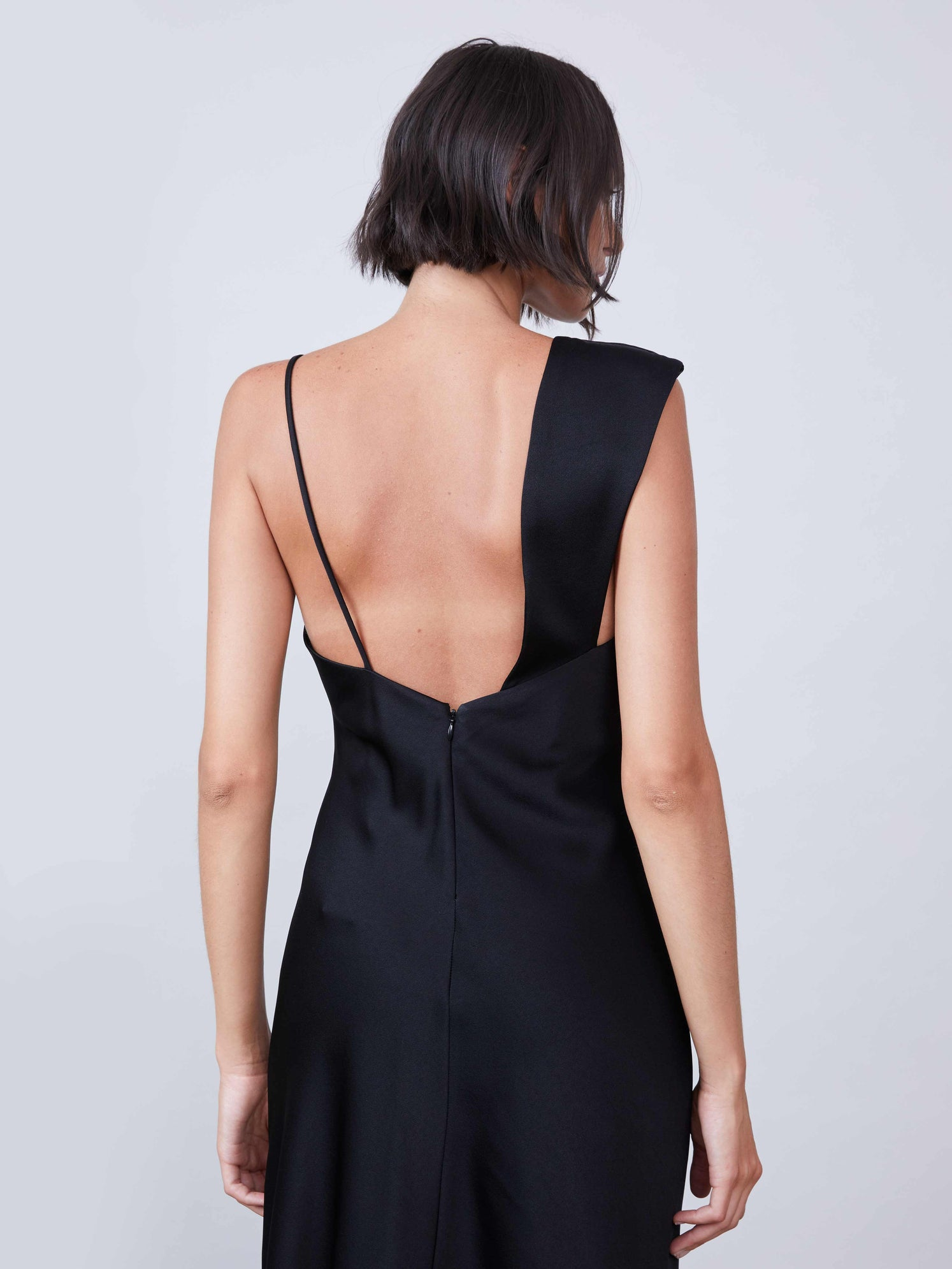 Satin one shoulder slip dress with an asymmetrical hemline and front slit
