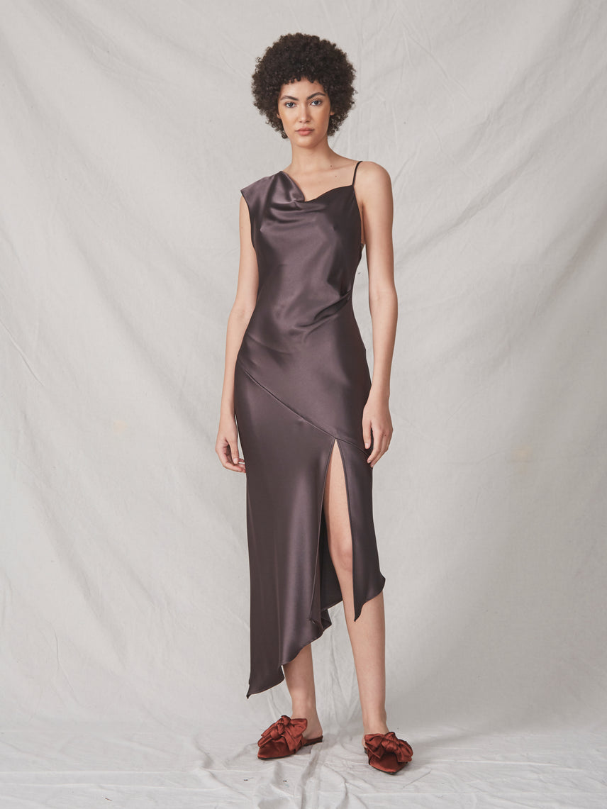 Brown satin asymmetrical gown with asymmetrical hemline and front slit