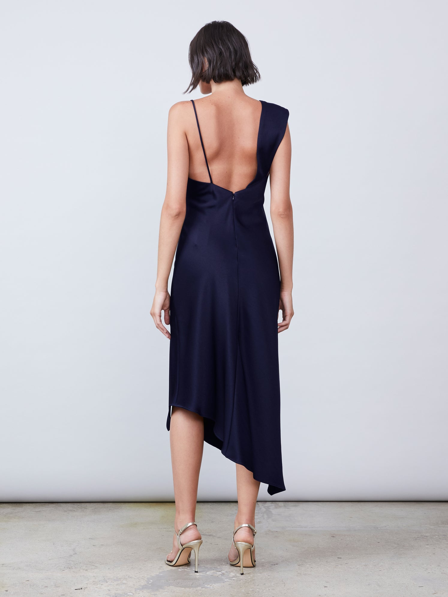 Asymmetrical slip dress with front slit Alternate