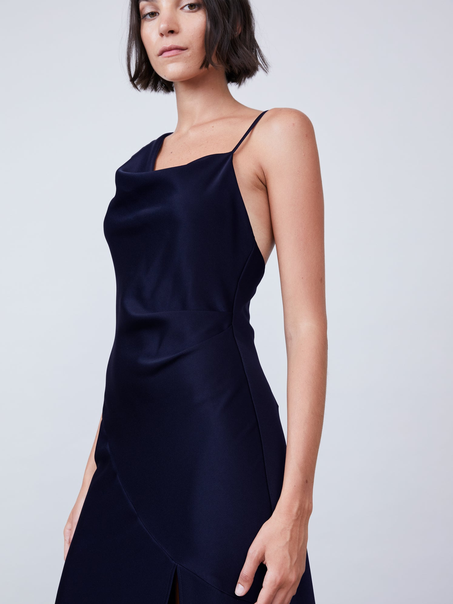 Asymmetrical slip dress with front slit