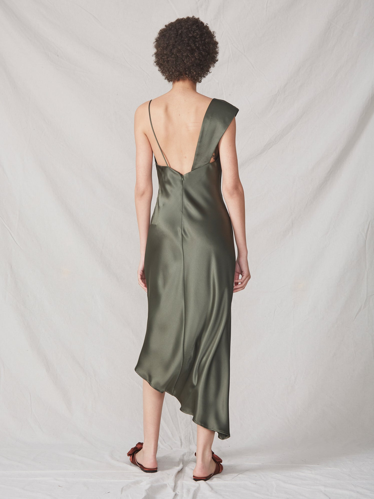 Satin luxe one shoulder spaghetti strap asymmetrical cowl slit dress Alternate