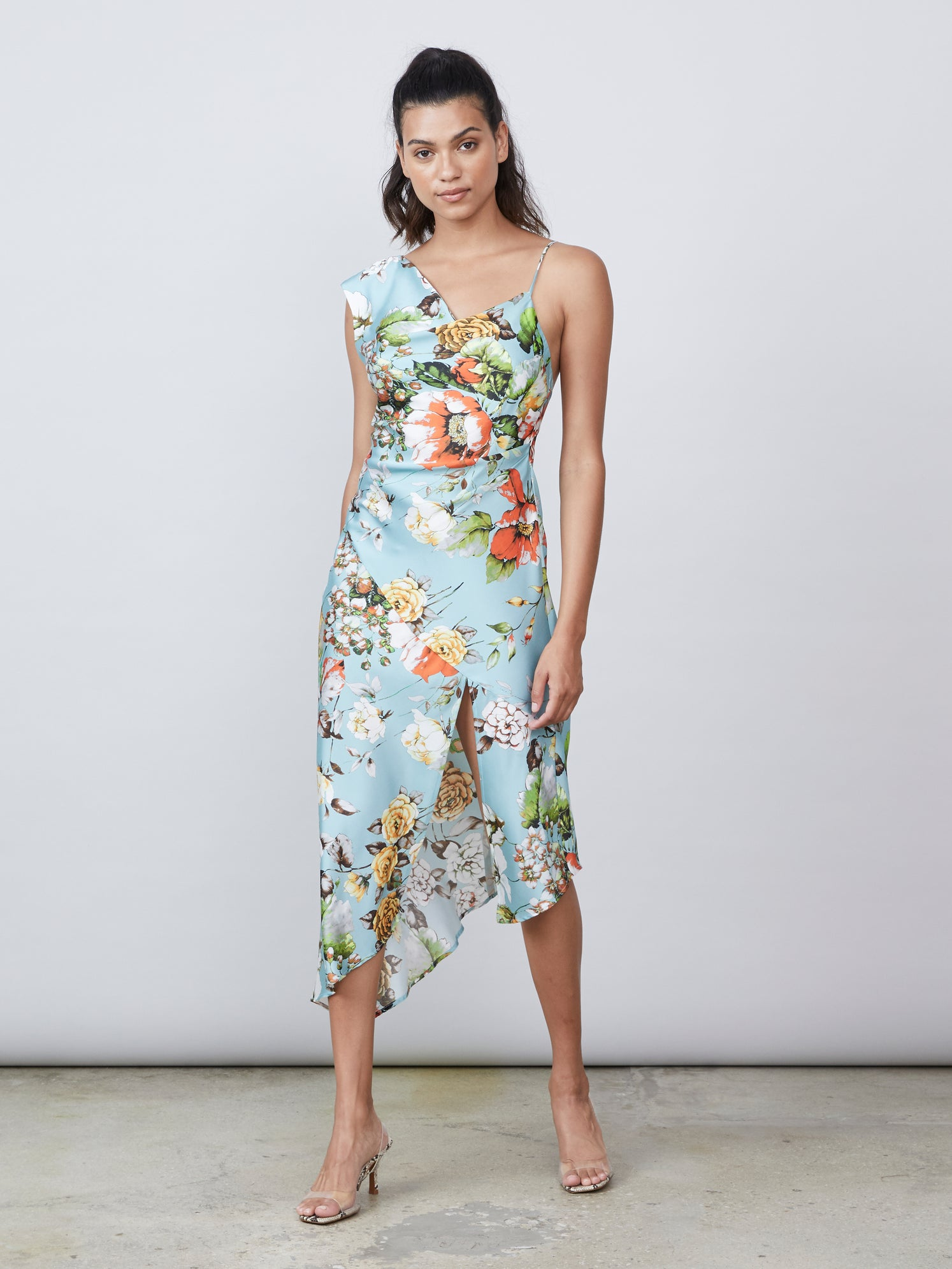 Floral print draped cowl neck asymmetrical front slit dress