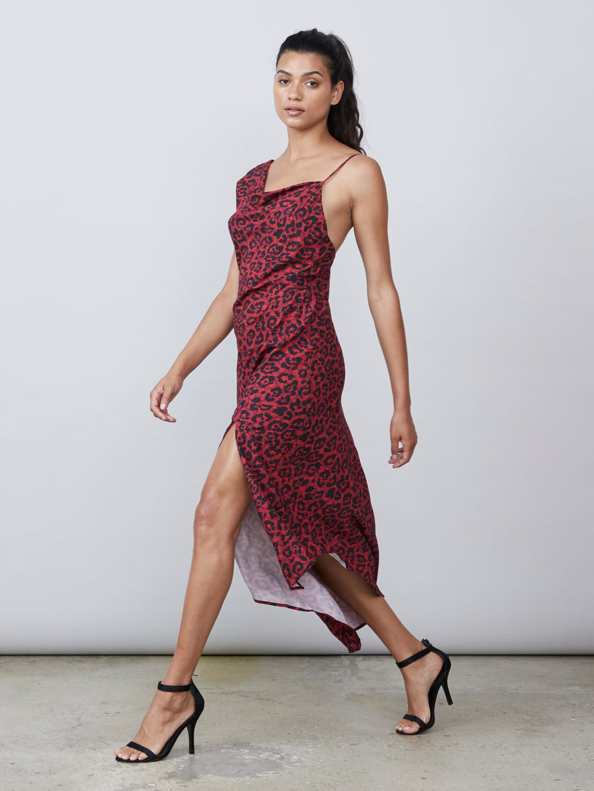 Cheetah print one shoulder dress with asymmetrical hemline and front slit