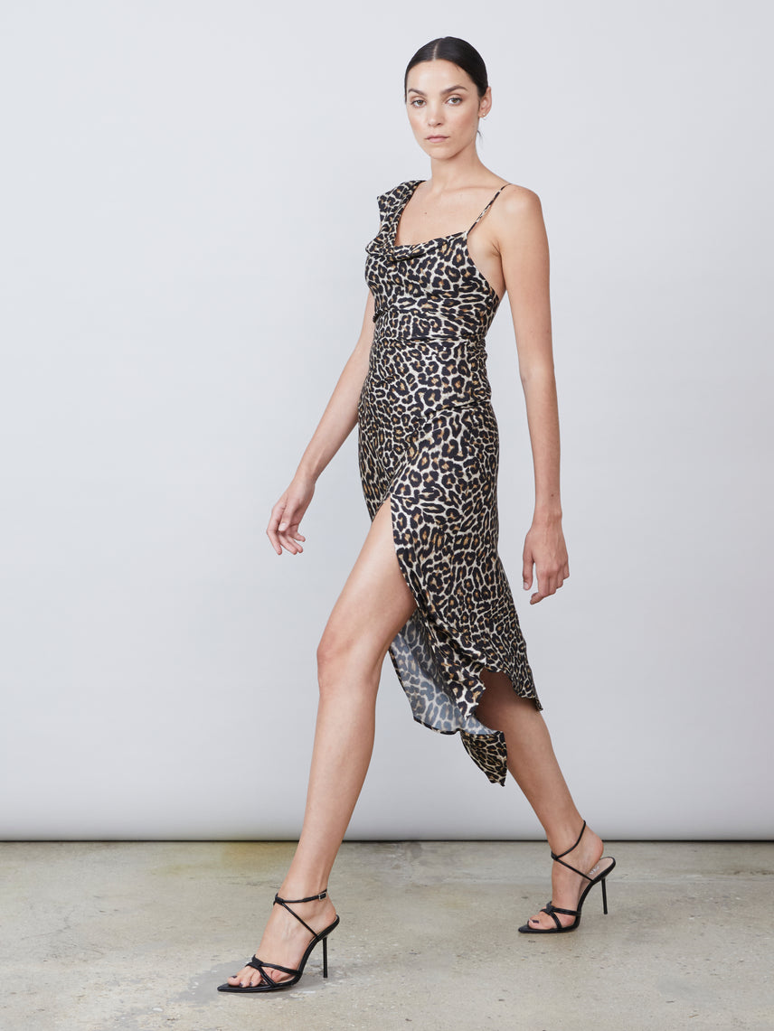 Leopard print asymmetrical one shoulder dress with front slit