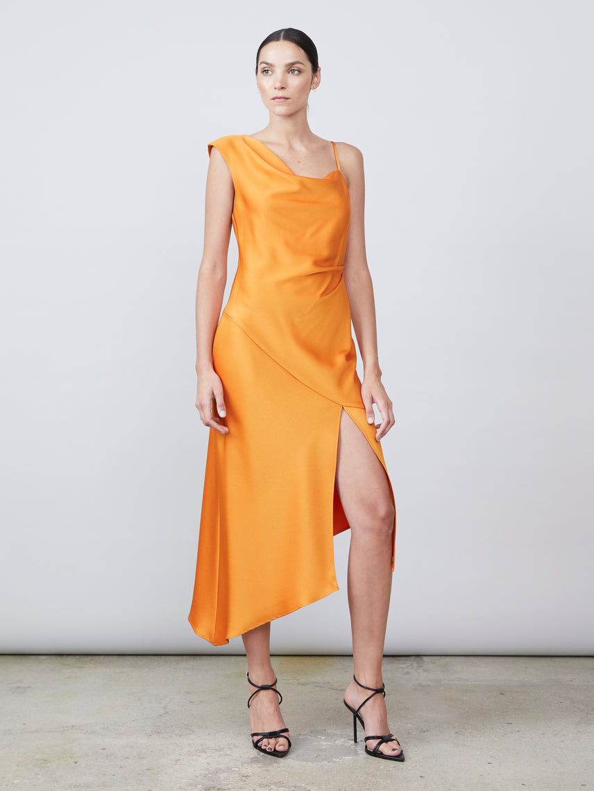 Matte satin draped cowl neck asymmetrical front slit dress