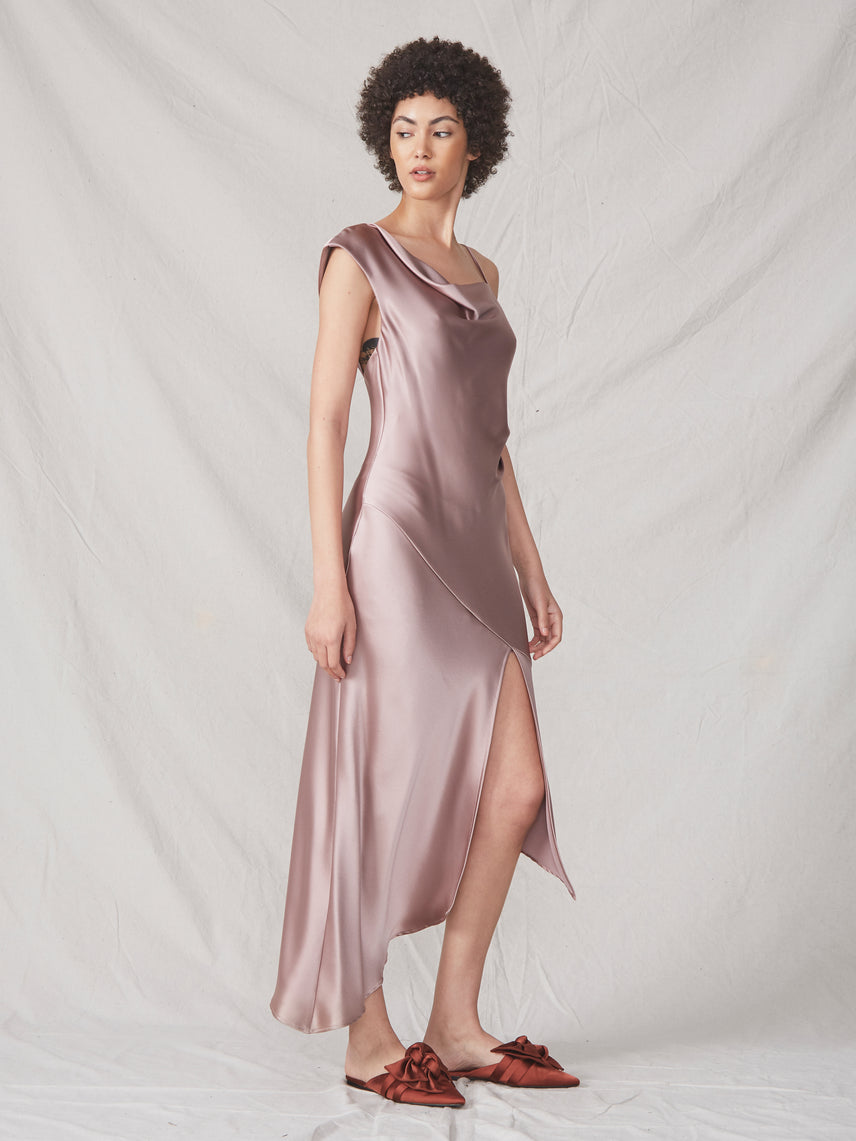 Satin luxe one shoulder spaghetti strap asymmetrical cowl slit dress