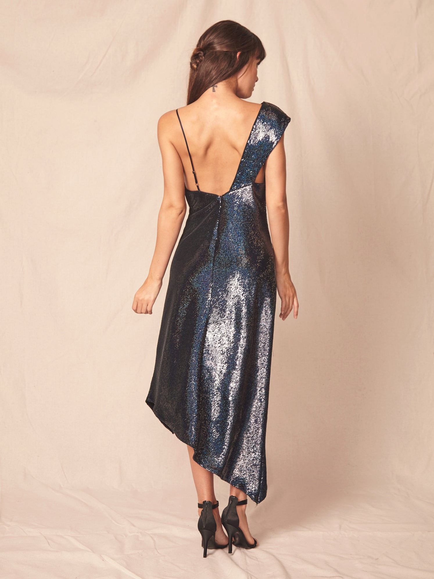 Iridescent sequin asymmetrical one shoulder slip dress with front slit Alternate