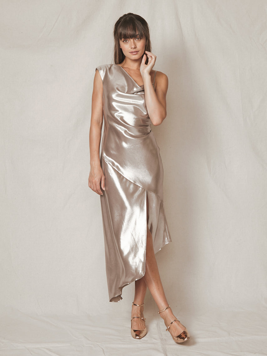 Platinum lamé one should asymmetrical slip dress with front slit