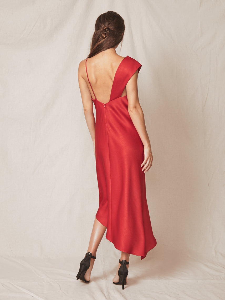 Satin one shoulder asymmetrical slip dress with front slit Alternate