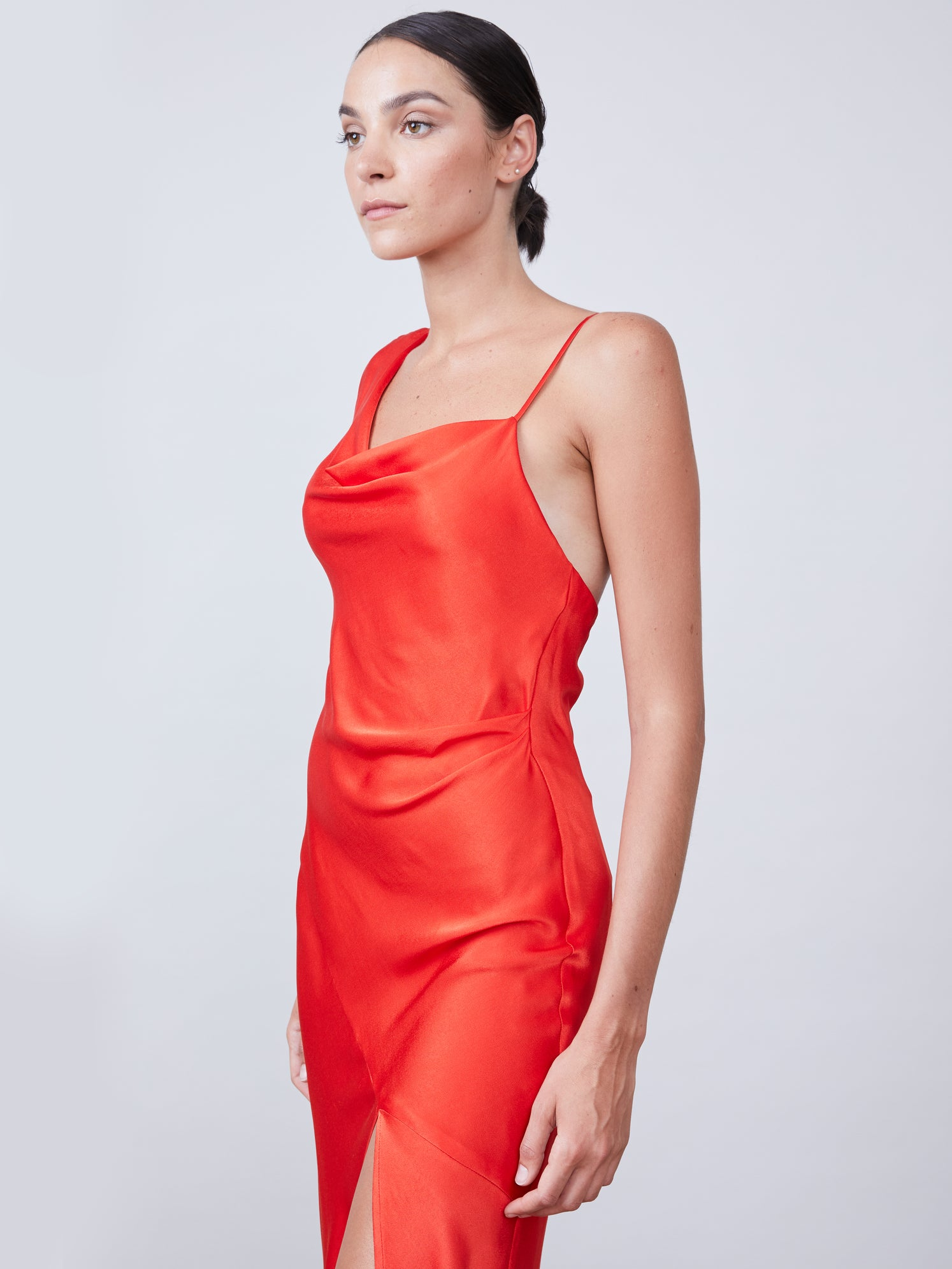 Satin one shoulder slip dress with an asymmetrical hemline and front slit Alternate