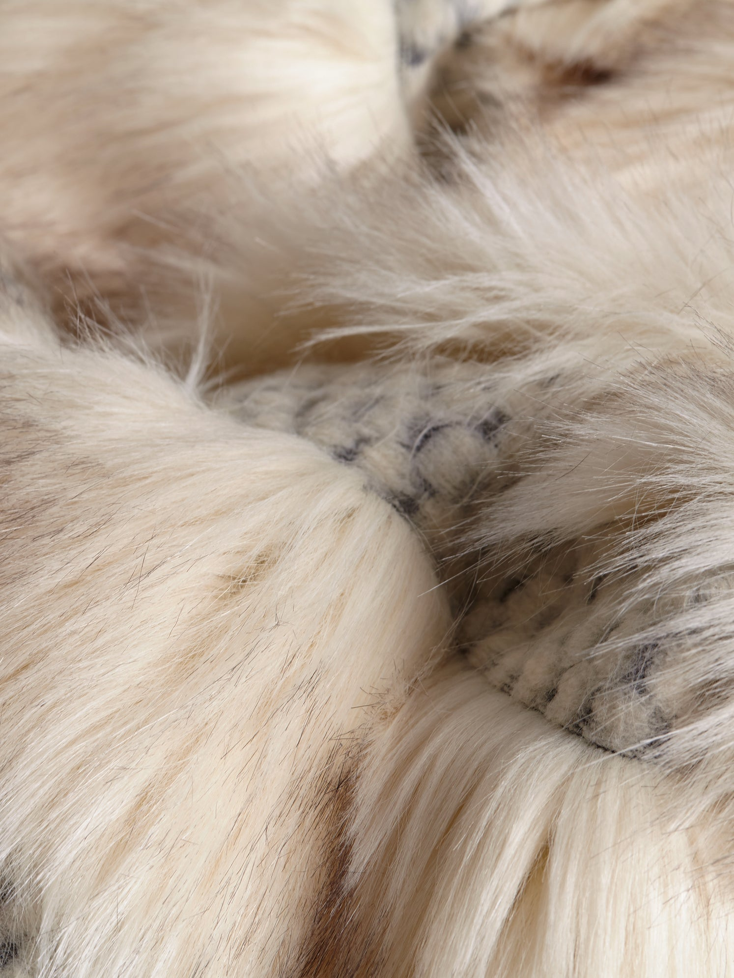Ivory faux fur close up