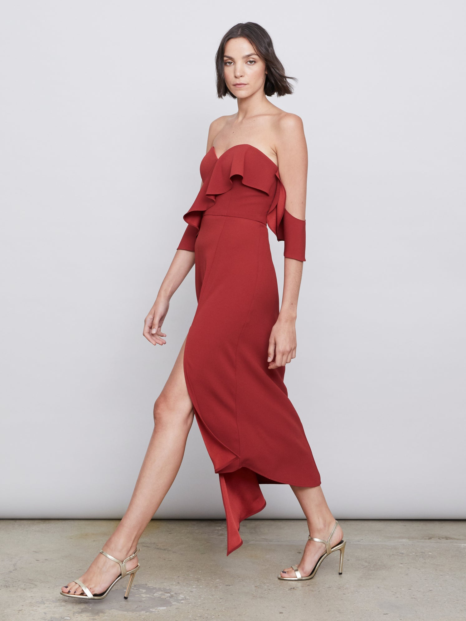 Matte crepe satin off shoulder midi dress