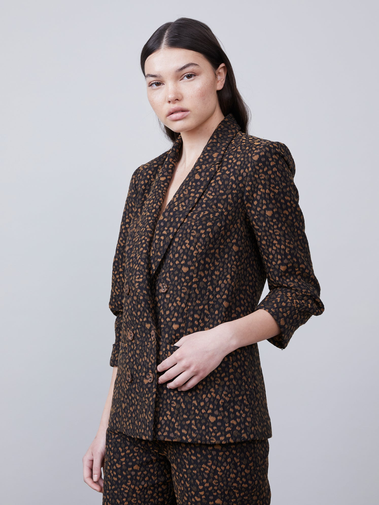 Animal print double breasted blazer with ruched 3/4 sleeves