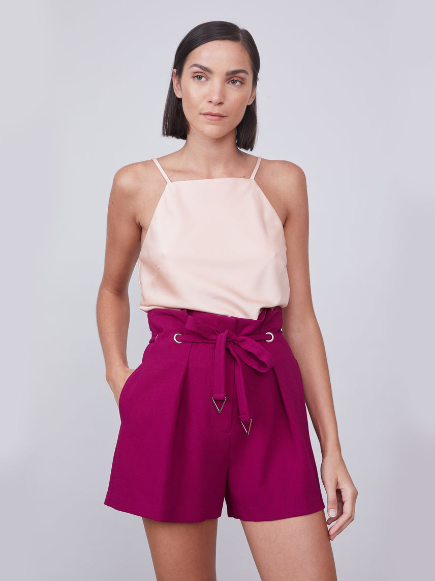 Paperbag crepe shorts with front tie featuring metal detailing