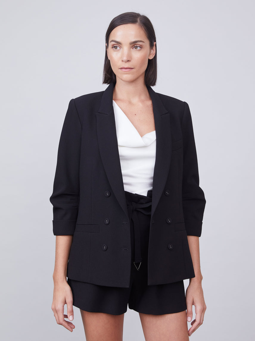 Double breasted blazer featuring ruched 3/4 sleeves Alternate