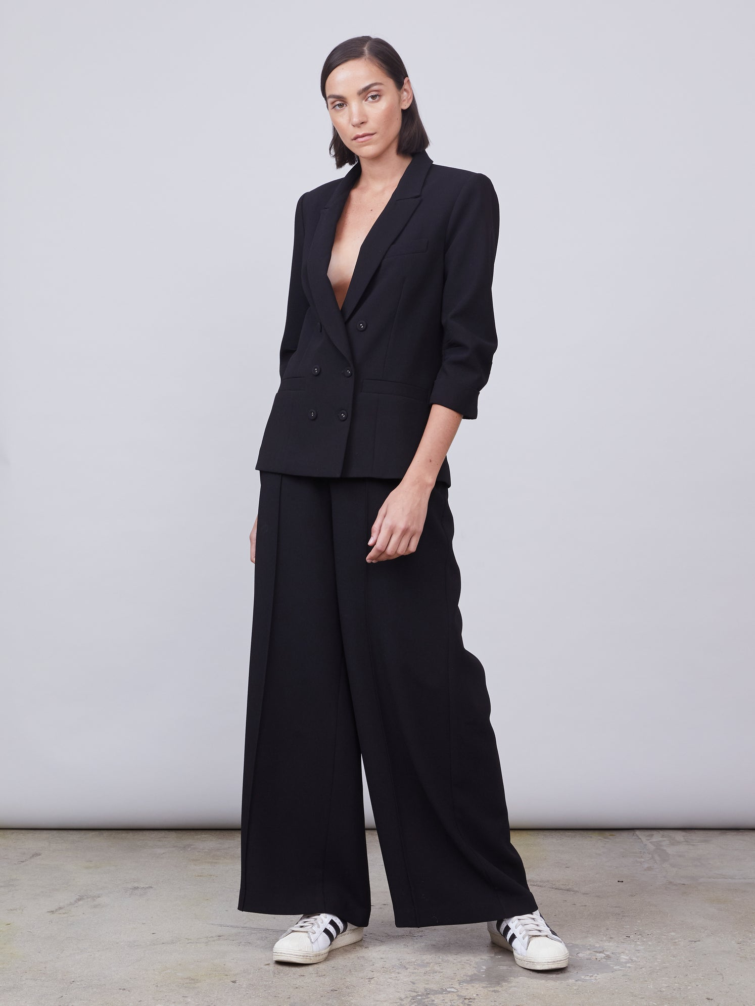 High-waisted wide leg crepe pants