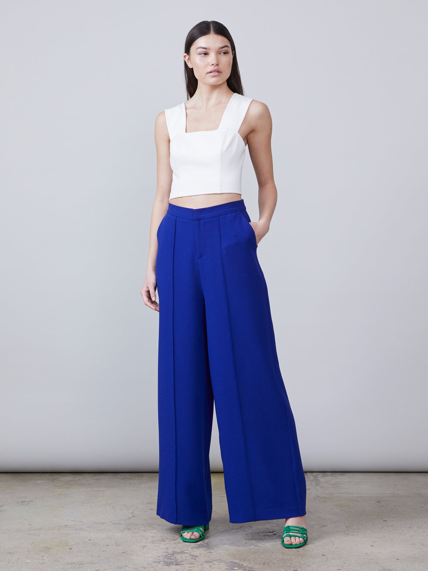 Royal blue high waisted wide leg crepe pants Alternate