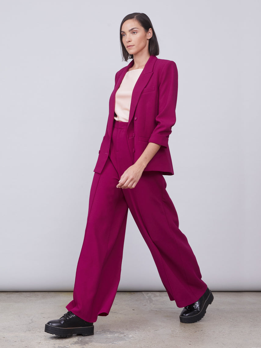 High-waisted wide leg crepe pants Alternate