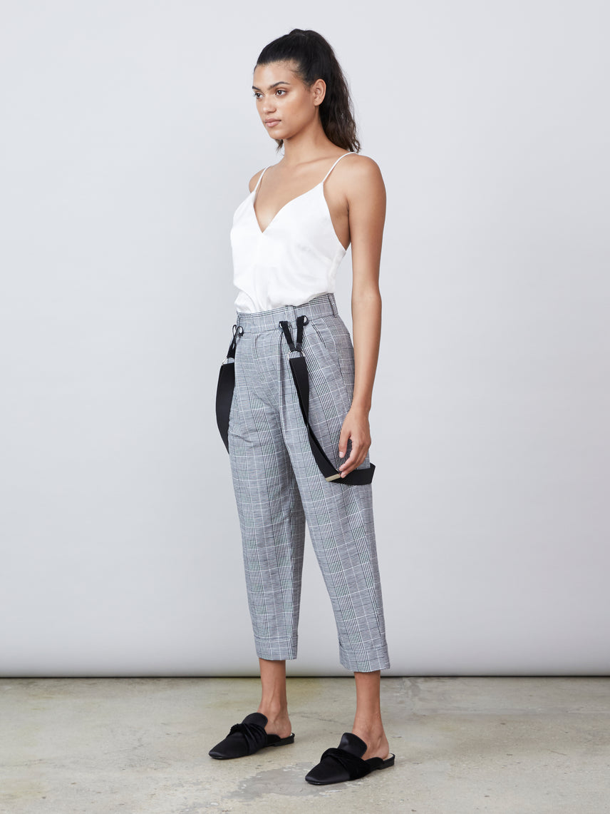 Relaxed fit plaid suspender pants