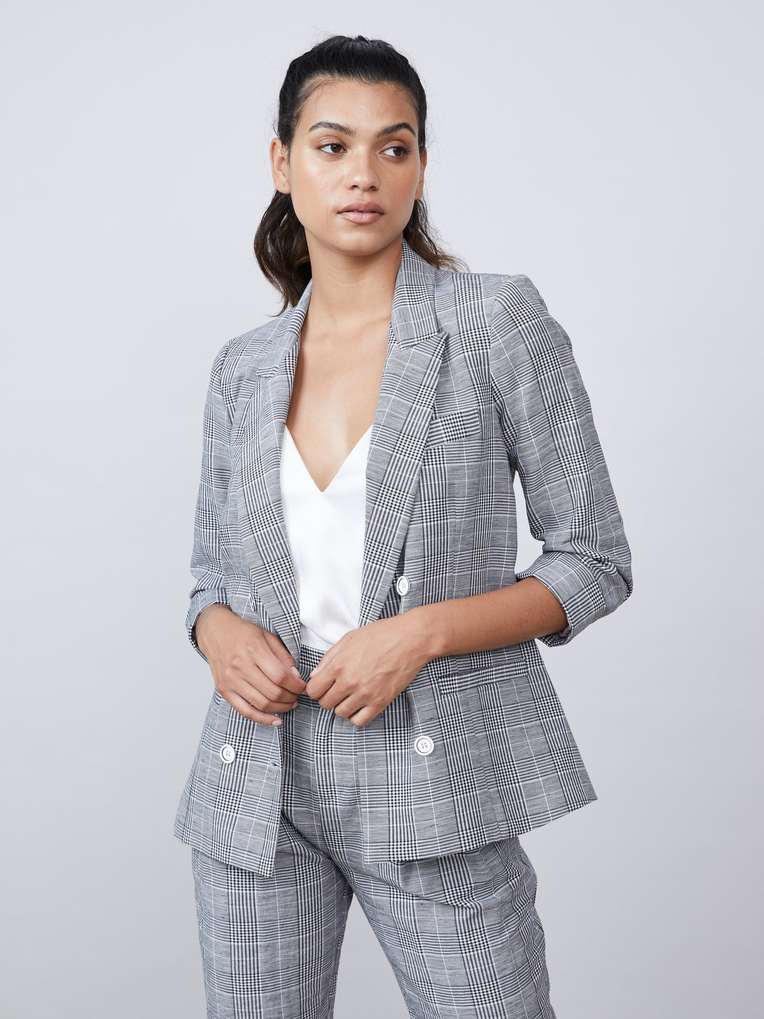 Double breasted plaid blazer with 3/4 sleeves