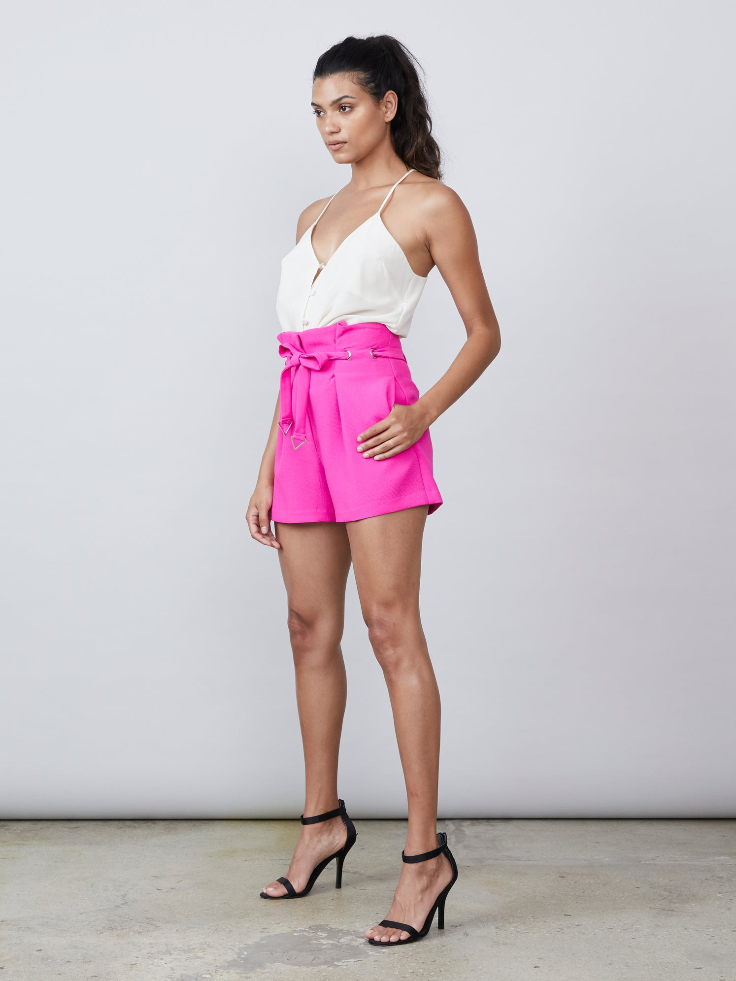 Front tie paperbag waist polyester shorts