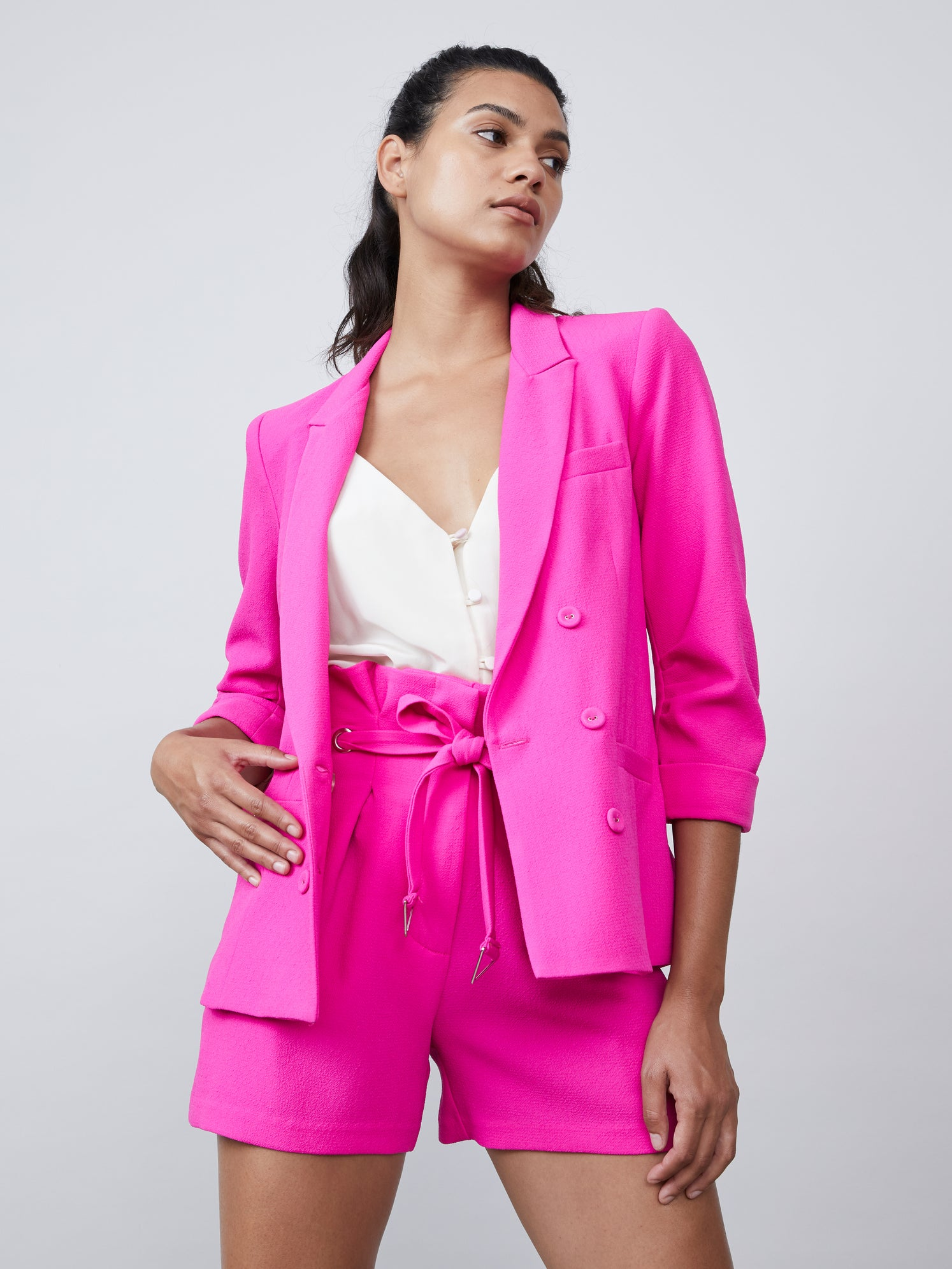 Fuschia double breasted 3/4 sleeves polyester blazer