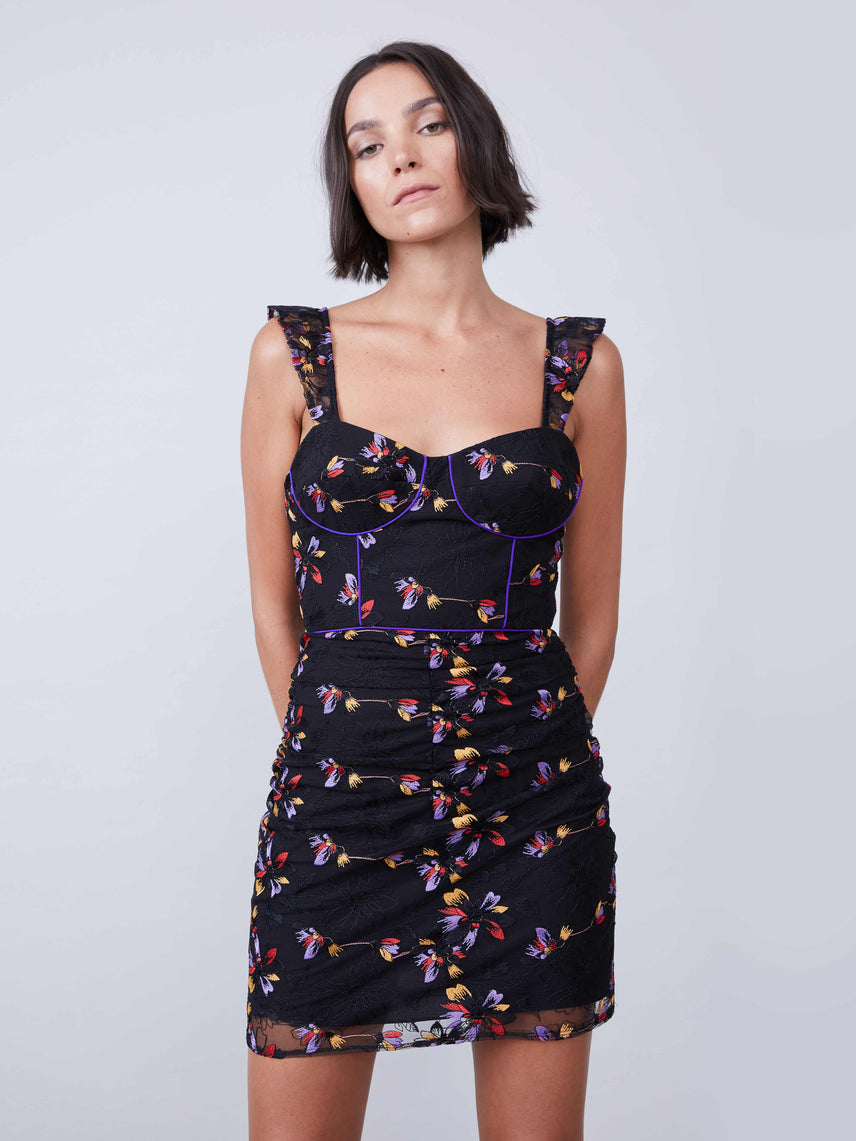 Sheath floral mini bustier dress with contrast piping