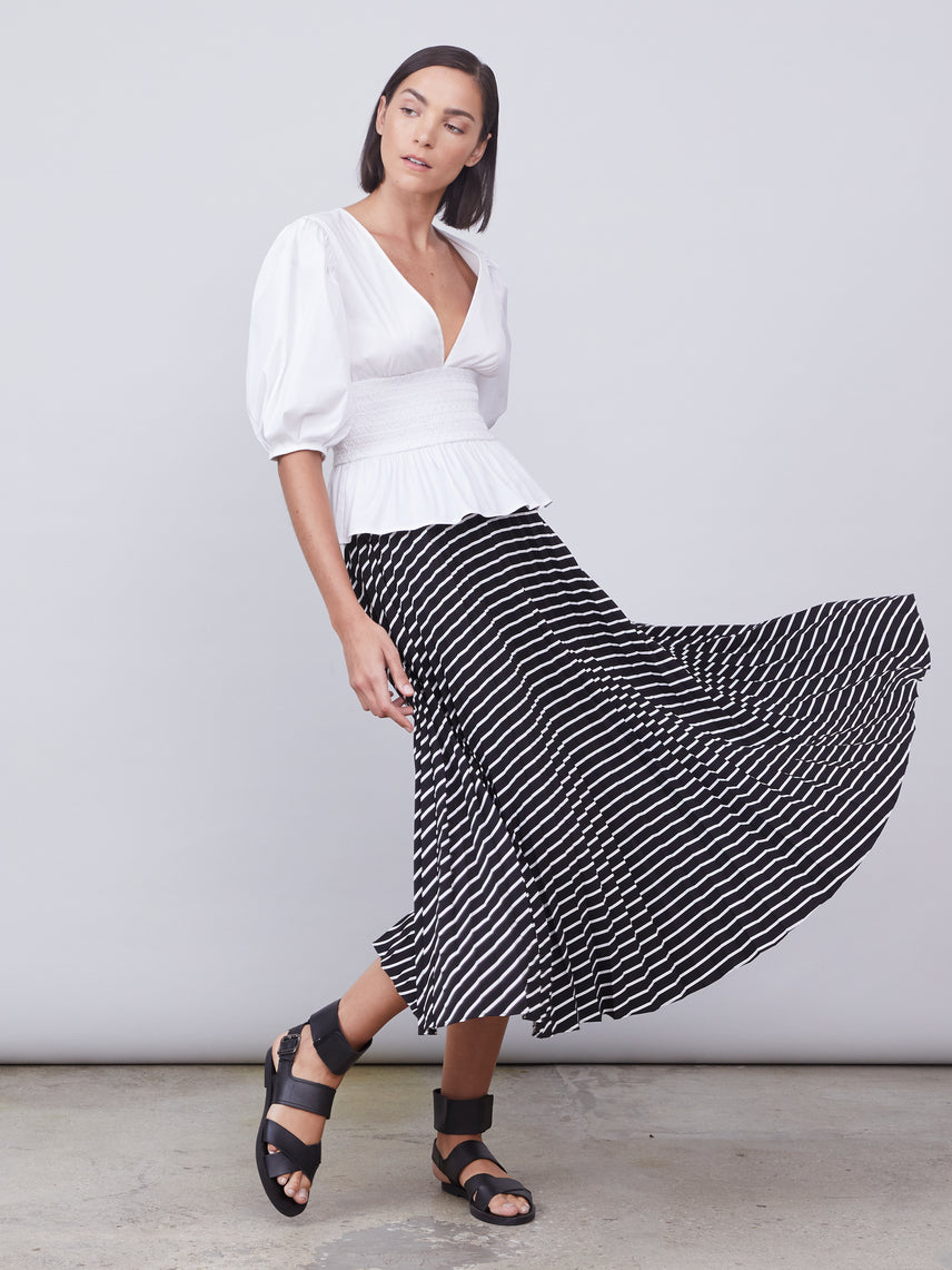 Striped pleated circle skirt